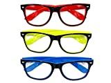 Goson Clear Lens Eye Glasses Non Prescription Glasses Frames For Women and Men - Square Nerd Hipster Glasses - 3 Pairs Black/Blue & Black/Red & Black/Yellow Frame