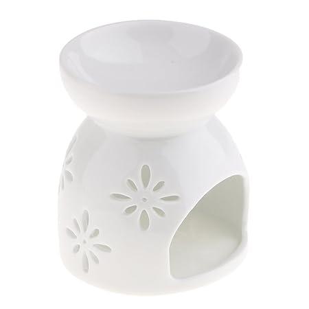 Homyl White Ceramic Essential Oil Burner Warmer Tea Light Scented ...