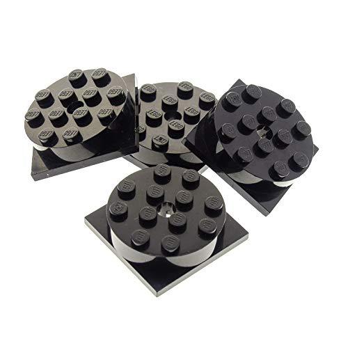 LEGO 4 x System Rund Stein Schwarz 4 x 4 Drehscheibe Teller mit Platte Scheibe Turntable 3403 c01