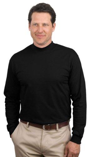 Turtleneck Mock Pullover (Port & Company Mock Turtleneck, Jet Black, Medium)