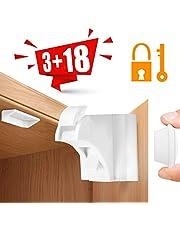 Aiska Baby Sicherheit Magnetisches Schrankschloss–10x Schranksicherung–Unsichtbare Kindersicherung für Schranktür und Schubladen–ohne Bohren und Schrauben