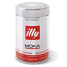 illy Medium Roast Ground Moka Coffee for Stovetop Coffeemakers, 8.8 ounce can by Illy