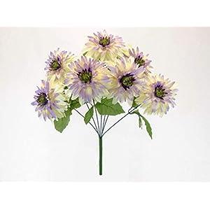 "Mum Bush Artificial Silk Flowers 20"" Bouquet 7-6406 Cream Lavender Tip 42"