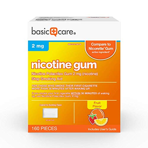 Basic Care Nicotine Polacrilex Gum, 2 Mg (Nicotine), Fruit Flavor, 160 Count