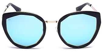"PRIVÉ REVAUX ""The Artist"" Handcrafted Designer Geometric Polarized Sunglasses For Women (Black Gold)"