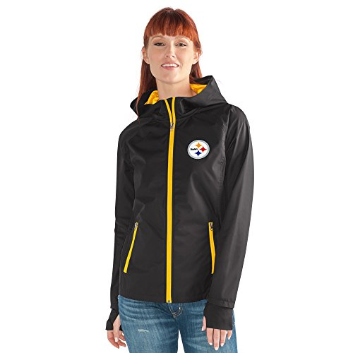 Nfl Pittsburgh Steelers Clothing - GIII For Her NFL Pittsburgh Steelers Women's Onside Kick Light Weight Full Zip Jacket, Small, Black