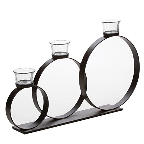 Hosley Three Iron Rings Table Sconce with Oyster Cups Candleholder – Large 20″ Long & 12″ High. Modern Art Includes FREE Tea Lights. Ideal Gift for Wedding, Home, Fireplace, LED Candle Garden O9 Review