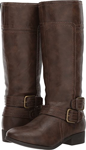 Brown Dark Shoes Kids Smooth (Nine West Girls' Sassy Tran 2 Fashion Boot, Dark Brown Smooth, 1 Medium US Little Kid)