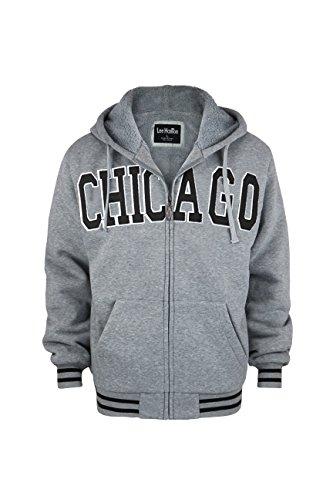 - Leehanton Men's 'Chicago' Zip Up Sweater Hoodie Soft Fleece Lining (Small, Light Grey)
