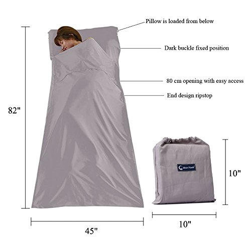 Cotton Sleeping Bag Liner Travel and Camping Sheet Lightweight Warm Roomy Compact Sleep Bag And Sack for Camping, Travel, Youth Hostels, Picnic 82.7 X 45 Inch,Khaki Grey