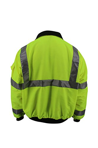 Brite Safety Style 5020 Hi Vis 3-Season Bomber Jacket Men or Women | Durable, Wind & Water Resistant | ANSI Class 3 compliant (3XL) by Brite Safety (Image #2)