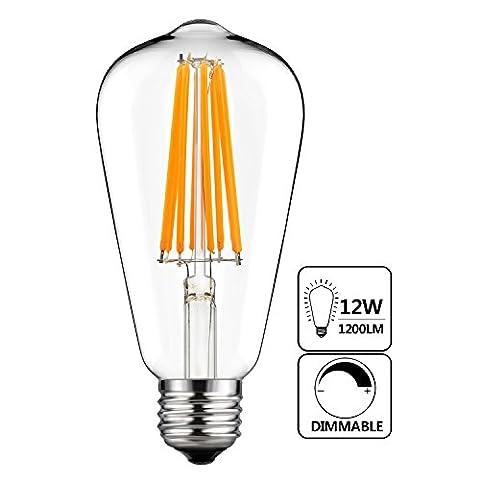 GEZEE 12W Edison Style Vintage LED Filament Light Bulb,120W Incandescent Replacement,Warm White 2200K,1200LM, E26 Medium Base Lamp, ST21(ST64) Antique Shape, (100watt Edison Light Bulbs)