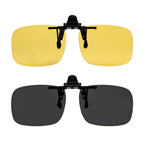 LianSan Polarized Clip on Sunglasses Polarized Womens Mens Eyeglasses Clips Large Size 55mm 2pairs lts-004 005 Black Yellow (Month Sunglasses 0 6)