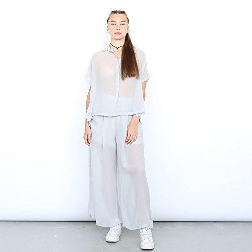 Chiffon Shirt, Sheer Blouse, Oversized Shirt ,Light Grey by Naftul