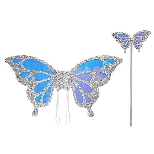 (PinkSheep Kids Butterfly Wings Costume for Girls Dress Up with Butterfly Fairy Wand, Pretend Play Party Supplies)