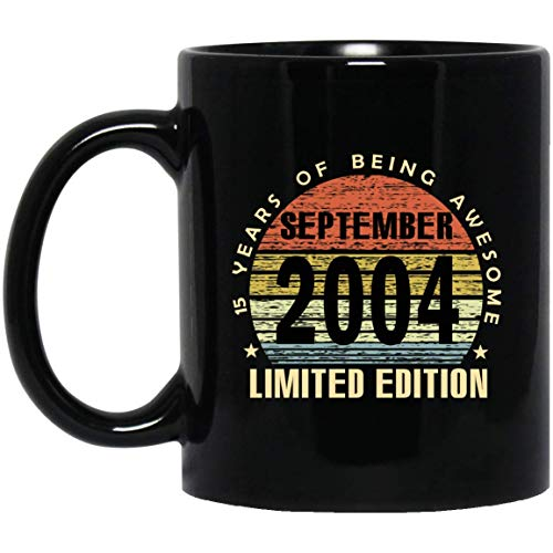 Vintage 15 Years of being awesome September 2004 Limited Edition Mug 15th Birthday Gifts for Men, Women, 11Oz Black Tea cup
