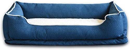 スクエアケンネル三つの側面の枕は、取り外し可能なクリーニング冬暖かい非スリップペットハウスリビングルームベッドルームユニバーサルキャットリッター (色 : Dark blue, サイズ さいず : 72×58×20cm)