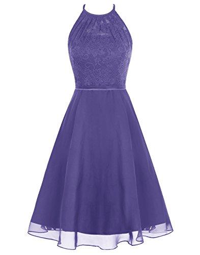 Wedtrend Women's Short Halter Lace Bridesmaid Dress Hollow Back Homecoming Dress WT12087Grape 4