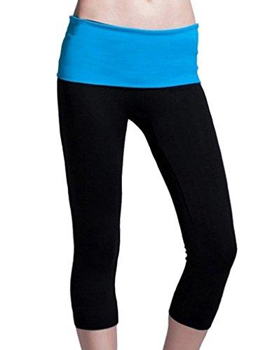 Kuer Women's High Waist Stretch Slim Fit Cropped Trousers Yoga Pants Leggings Blue