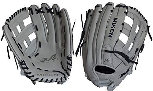 (Miken Pro Series Slowpitch Softball Glove, 14 inch, White/Blue Laces, Left Hand)