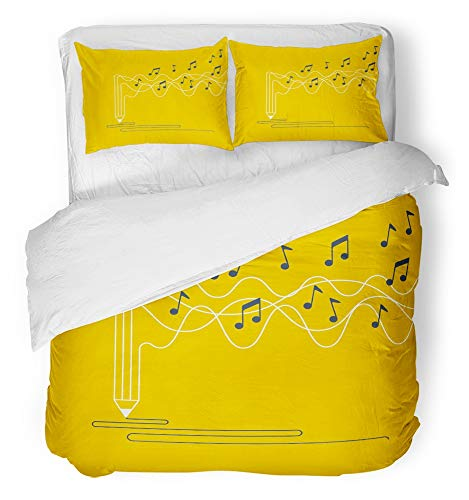 Emvency 3 Piece Duvet Cover Set Breathable Brushed Microfiber Fabric Poetry Music Recording Creative Process of Writing Song Lyrics Audio Workshop Bedding Set with 2 Pillow Covers Full/Queen ()