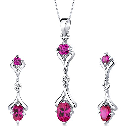 (Created Ruby Pendant Earrings Set Sterling Silver Rhodium Nickel Finish Oval Shape 2.75 Carats 2 Stone)