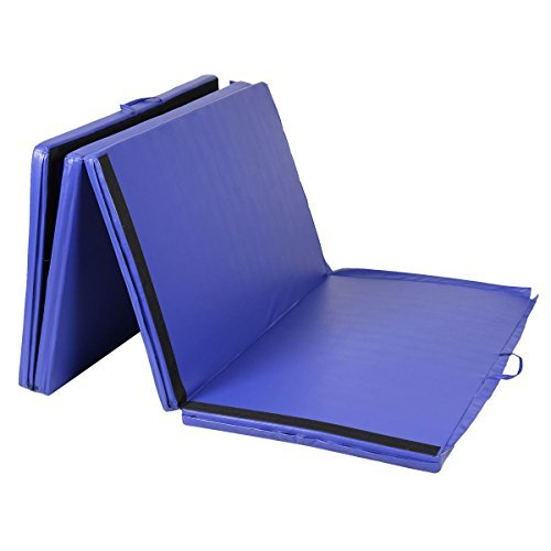 Goplus Folding Gymnastics Gym Exercise Mats 4'x10'x2'' Stretching Yoga Mat Blue by Exercise Mats
