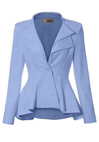 HyBrid & Company Women Double Notch Lapel Office Blazer JK43864 1073T Blue 2X by HyBrid & Company