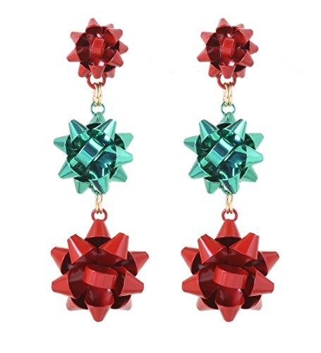 VK Accessories 3 Pairs Christmas Earring Different Styles Bow Shape Santa Reindeer Earrings (3 bow drop earrings) for $<!--$9.99-->