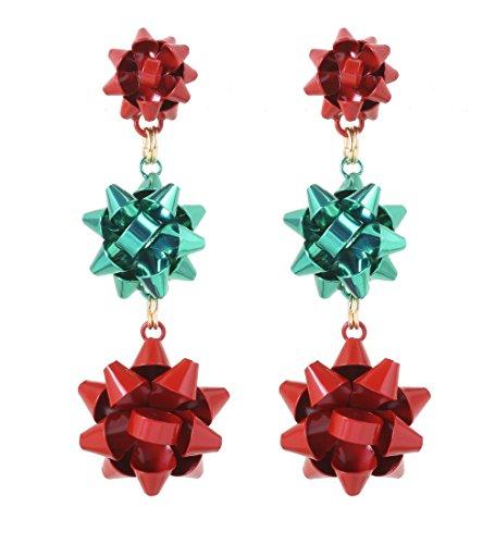 VK Accessories 3 Pairs Christmas Earring Different Styles Bow Shape Santa Reindeer Earrings (3 bow drop earrings)