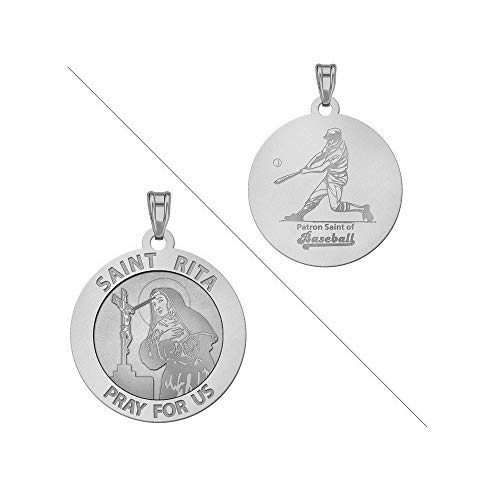 PicturesOnGold.com Saint Rita Religious Medal Baseball Religious Medal - 3/4 Inch Size of a Nickel -Sterling Silver