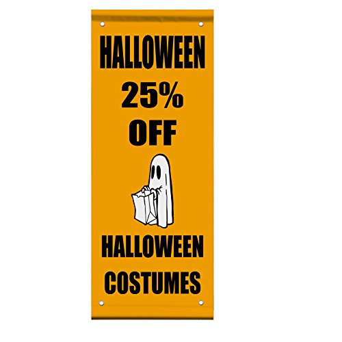 Halloween 25% Off Halloween Costumes Custom Double Sided Pole Banner Sign 18 in x 26 in w/ Pole Bracket for $<!--$119.99-->