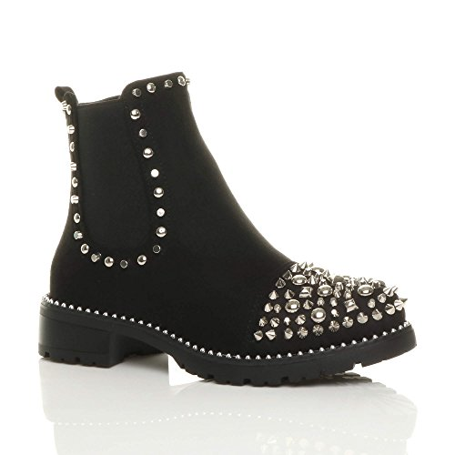 Punk Heel Low Gusset Chelsea Womens Studded Ladies Size Black Ankle Rock Suede Goth Boots 5E0Iq