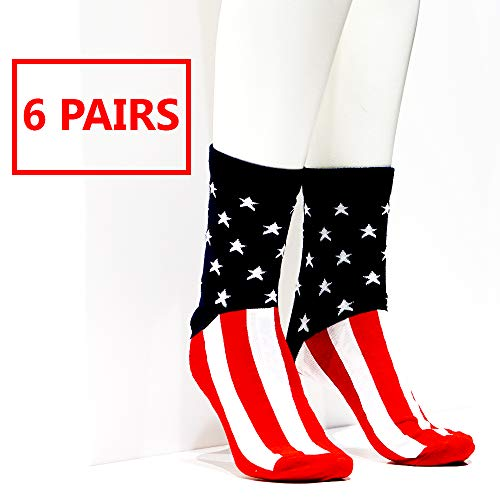 Patriotic USA America American Flag Dress Socks For Women Men| Red White & Blue! | Perfect For Weddings, 4th Fourth Of July -