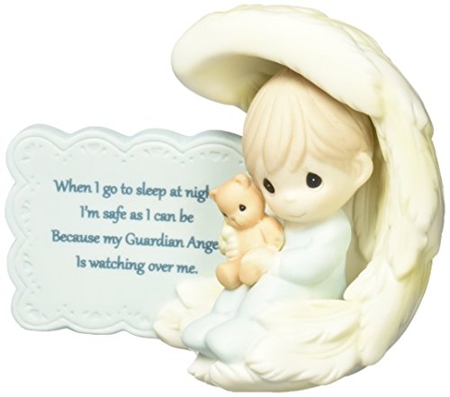 Precious Moments 152009 My Guardian Angel, Bisque Porcelain Figurine, (Angel Bear Figurine)