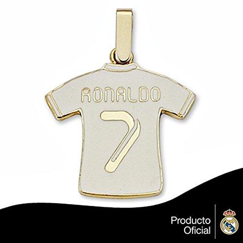 Pendentif Real Madrid chemise 9k or fin émailler Ronaldo 7 [6487GR] - Modèle: 0530-106 - personnalisable - ENREGISTREMENT inclus dans le prix