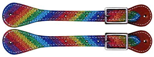 Showman Ladies Rainbow Glitter Overlay Adjustable Western Leather Spur Straps ()