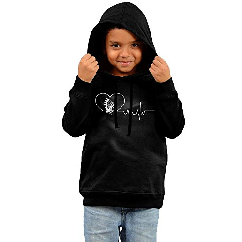 Diy Womens Football Costume (Heartbeat Native American Fashion Boys And Girls Pullover Hoodie Sweatshirt -gift For Kids Black 5-6 Toddler)