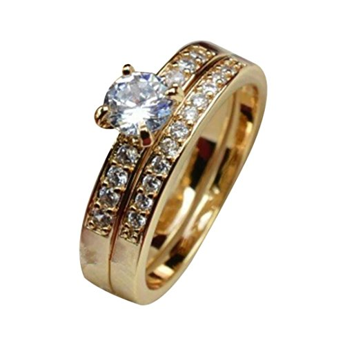 Balakie Men Women Betrothal Engagement Band Jewelery Couple Geometric Type Diamond Ring (Gold, Women # - Cubic Set Gents Zirconia