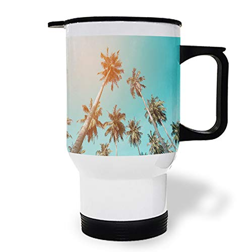 15 oz Stainless Steel Insulated Tumbler Travel Car Mug with Handle, Holiday Island Coconut Tree Coffee Mug with Lids, Double Wall Coffee Cups Mugs for Home Office from Roses Garden