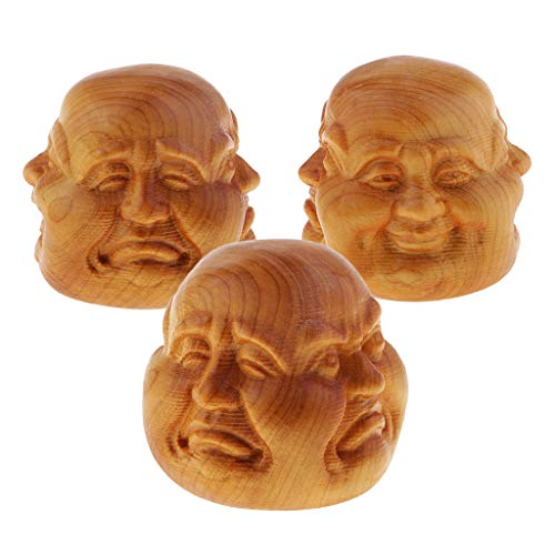 Wood Effect Buddha Head - SM SunniMix 3pcs Wood Effect Thai Buddha Four-Face Buddmst Home Decor Ornament Gift 4cm