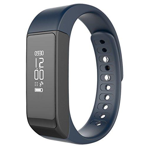 Juboury Bluetooth Fitness Tracker Sport Armband mit Schrittzähler, Schlafmonitor und Kalorienzähler für iOS und Android Smartphones (Blau)