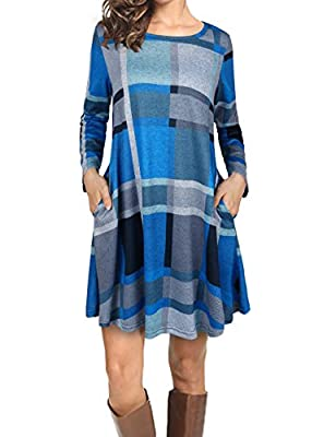 FADDARE Women's Casual Loose Long Sleeve Striped/Plaid Tunic Dress
