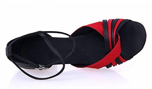 Tda Para Mujer De Moda Tacón Medio Abrigo De Tobillo Satinado Salsa Tango Salón De Baile Zapatos De Boda De La Danza Moderna Latina Negro Rojo