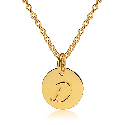 D&g Jewelry (Three Keys Jewelry Stainless Steel 18k Gold Tone Initial Alphabet Disc Pendant Necklace 18