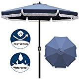 Blissun 9' Outdoor Patio Umbrella with Fringe, Aluminum Manual Push Button Tilt and Crank Garden Parasol