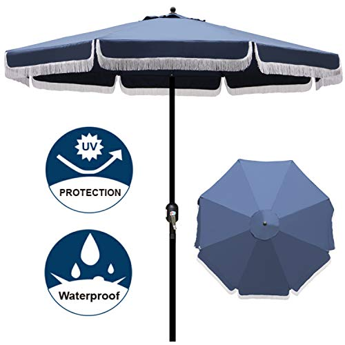 Blissun 9' Outdoor Patio Umbrella with Fringe, Aluminum Manual Push Button Tilt and Crank Garden - Umbrella Outdoor