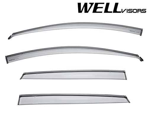 WellVisors Side Window Wind Deflector Visors - For Hyundai Accent Hatchback 12-17 2012 2013 2014 2015 2016 2017 with Black Trim