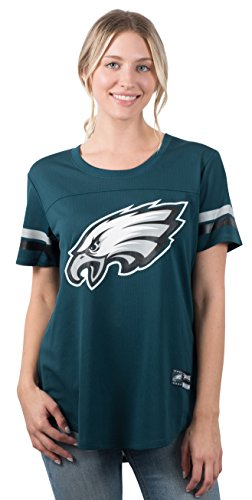 NFL Philadelphia Eagles Women's Jersey T-Shirt Mesh Varsity Stripe Tee Shirt, Large , Green