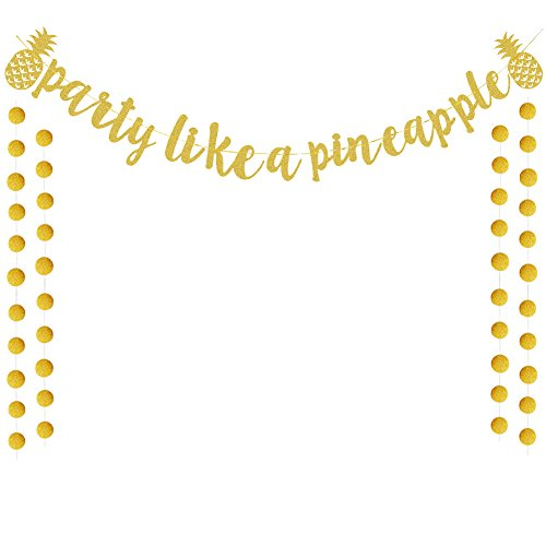 Gold Glitter Party Like A Pineapple Banner Bunting Garland For Luau Party Decorations Tropical Hawaiian Summer Themed Party Supplies -